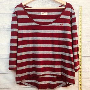 Hollister Top Long Sleeve Striped Gray Burgundy L